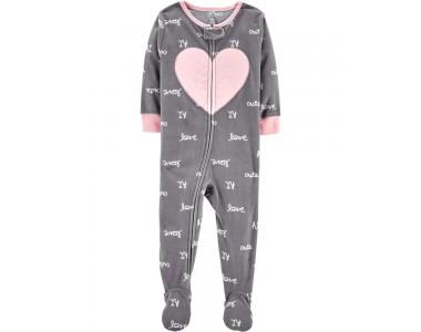 14967813 флисовая пижамка (слип) с аппликацией сердечка