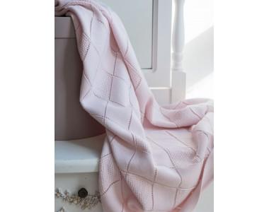 ПХЛ- Р3-РО Плед (хлопок) (цв. розовый, рис. ромбы, р. 88х83)