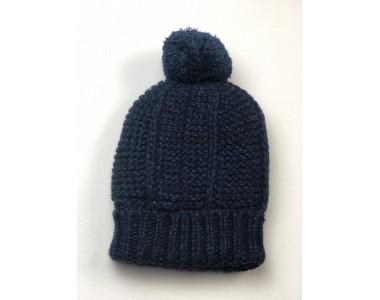 Вязаная шерстяная шапочка (синяя)