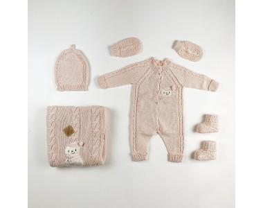 Розовый Набор новорожденному из 5 предметов.