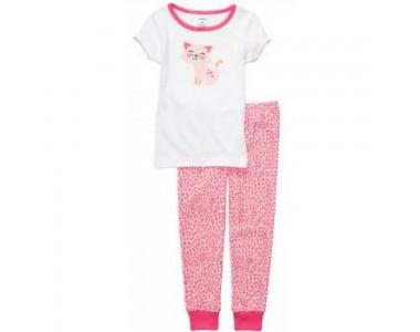 330-469 snug fit cotton 2-piece pjs Cat/ трикотажная пижама;